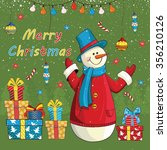 christmas card with snowmen and ... | Shutterstock .eps vector #356210126