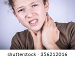 little girl with sore throat ... | Shutterstock . vector #356212016