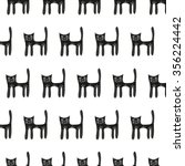 cute black cat seamless pattern ... | Shutterstock .eps vector #356224442