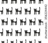 cute black cat seamless pattern ... | Shutterstock .eps vector #356224442