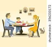 family dinner with pizza  ...   Shutterstock .eps vector #356233172