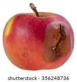 Red Rotten Apple On White...