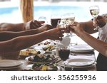 hands of people with glasses of ... | Shutterstock . vector #356255936