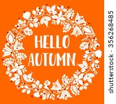 hello autumn wreath card | Shutterstock . vector #356268485