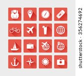 travel icons flat illustration. | Shutterstock . vector #356274692