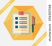 clipboard flat icon with long... | Shutterstock .eps vector #356305568