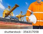 engineer dockers wearing safety ... | Shutterstock . vector #356317058