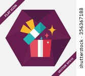 gift flat icon with long shadow ... | Shutterstock .eps vector #356367188