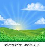 a rolling hills field sun... | Shutterstock .eps vector #356405108