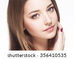 beautiful woman face close up... | Shutterstock . vector #356410535