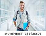 happy guy with book and...   Shutterstock . vector #356426606
