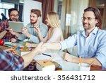 businessman greeting his... | Shutterstock . vector #356431712