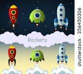 rockets  set of 3 cartoon... | Shutterstock .eps vector #356450306