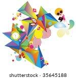 fashion lady pattern   Shutterstock .eps vector #35645188