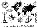 old map and a set of sea icons  ... | Shutterstock .eps vector #356454902