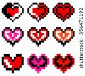 vector heart pixel icon | Shutterstock .eps vector #356471192
