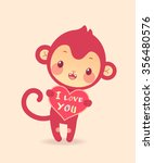 "funny monkey with heart ""i love ... 