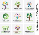tree logo set people logo set... | Shutterstock .eps vector #356482706