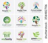 Tree logo set,People logo set,family logo set,green eco logo,Vector logo template | Shutterstock vector #356482706