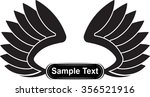 pair of black vector wings with ... | Shutterstock .eps vector #356521916