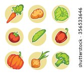 vector vegetables icons and... | Shutterstock .eps vector #356533646