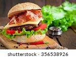 big sandwich   hamburger burger ... | Shutterstock . vector #356538926