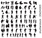many police silhouettes 1   Shutterstock .eps vector #35654305