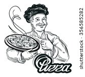 hand drawn chef with pizza in... | Shutterstock .eps vector #356585282