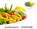 Salad from a tomato, cucumbers and pepper. - stock photo