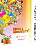 happy birthday colorful... | Shutterstock .eps vector #35663422