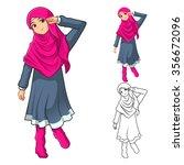 muslim girl fashion wearing... | Shutterstock .eps vector #356672096