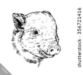brush painting ink draw pig... | Shutterstock .eps vector #356721416