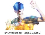 double exposure of man using... | Shutterstock . vector #356722352