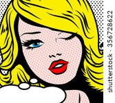 pop art woman winks. vector... | Shutterstock .eps vector #356728622