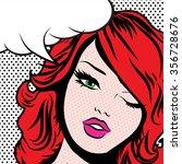 pop art woman winks. vector...   Shutterstock .eps vector #356728676