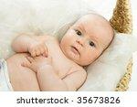the little baby  girl  in a ... | Shutterstock . vector #35673826