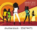 sexy group elegance silhouettes ... | Shutterstock .eps vector #35674471