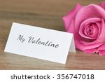 pink rose with note valentine... | Shutterstock . vector #356747018