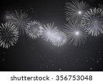 shiny white fireworks on dark... | Shutterstock .eps vector #356753048