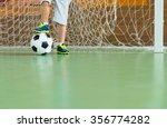 young goalkeeper on an indoor... | Shutterstock . vector #356774282