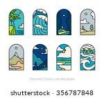 set of outline landscapes... | Shutterstock .eps vector #356787848