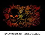 skull and guitar. hand drawing... | Shutterstock .eps vector #356796032