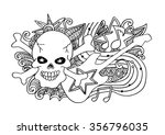 skull and guitar. hand drawing... | Shutterstock .eps vector #356796035