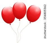 background with red balloons | Shutterstock .eps vector #356805362