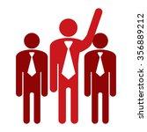 red businessman raising hand... | Shutterstock . vector #356889212