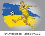 ukraine soccer player with flag ...   Shutterstock .eps vector #356899112
