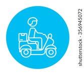 man carrying goods on bike line ... | Shutterstock .eps vector #356945072