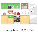 flat style kitchen interior and ... | Shutterstock .eps vector #356977262