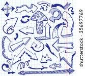 arrows doodles. vector... | Shutterstock .eps vector #35697769