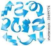set of 3d blue arrows | Shutterstock .eps vector #35699776